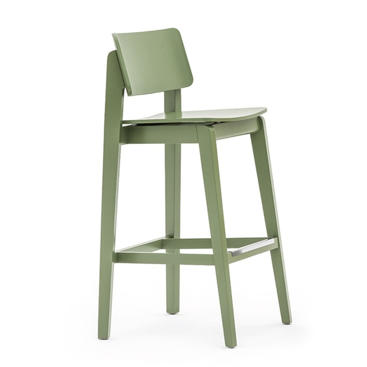 Offset 02881, Barstool in solid wood, in a modern style