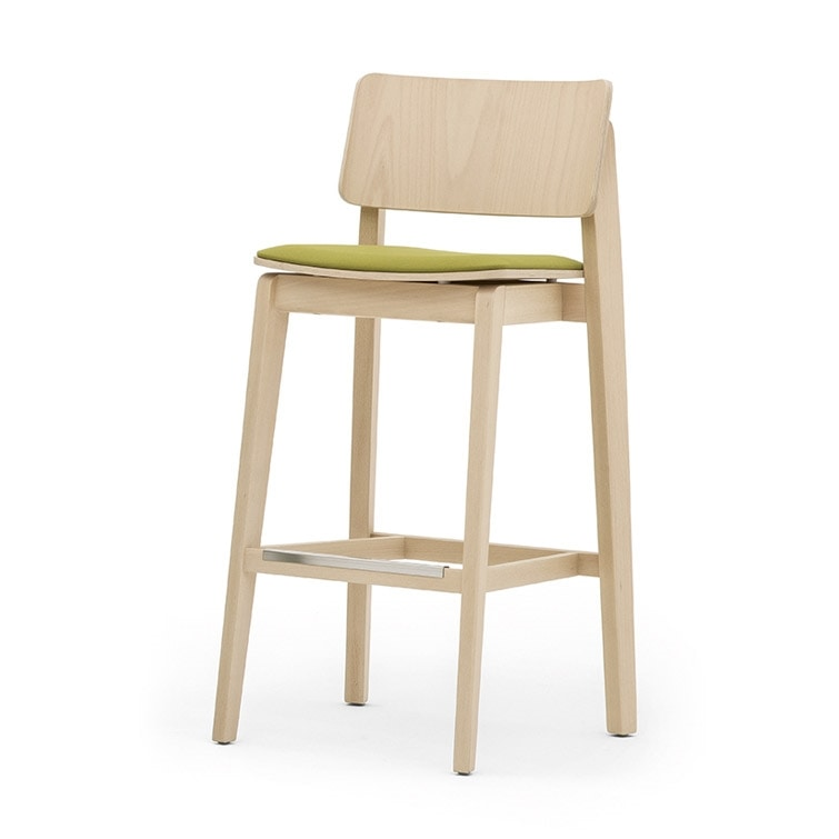 Offset 02882, Solid wood barstool, upholstered seat, modern style