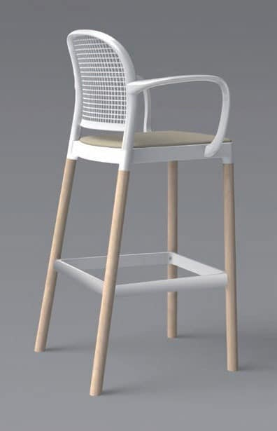 Panama Stool BLB, Wooden barstool with arms for Modern Kitchen
