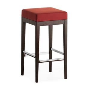 Pouf 01384, Square barstool in solid wood, upholstered seat, fabric covering, for contract use