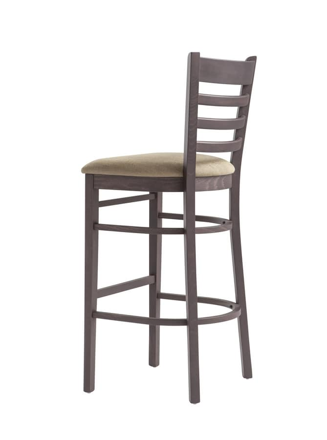 RP491A, Stool with horizontal slatted backrest