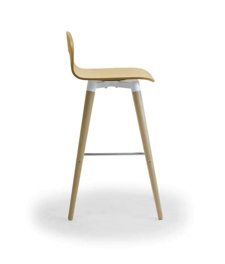 Samba Wood stool 4G, Stool with wooden legs and shell