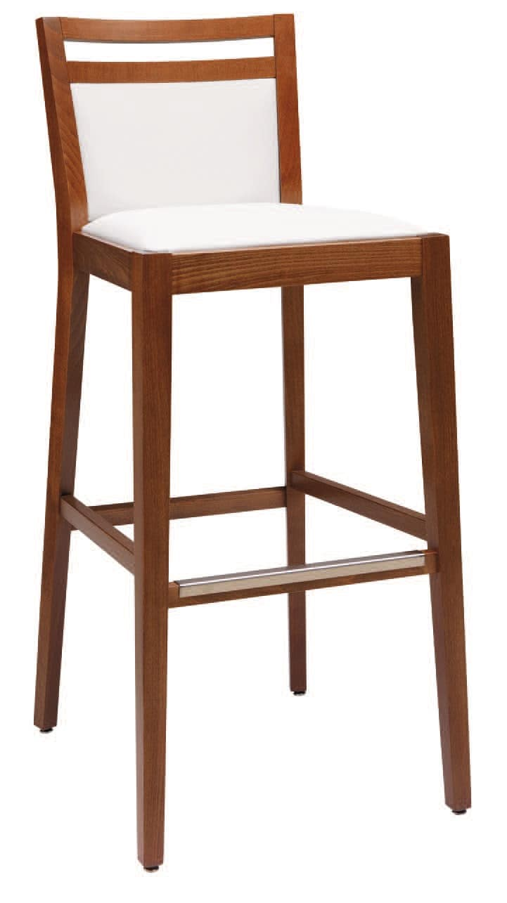 SG 4472 / CI, Padded stool in wood, with various finishes, for bar