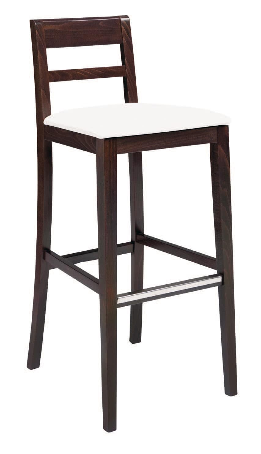 SG 490 / EI, Painted wooden stool, seat covered in leather