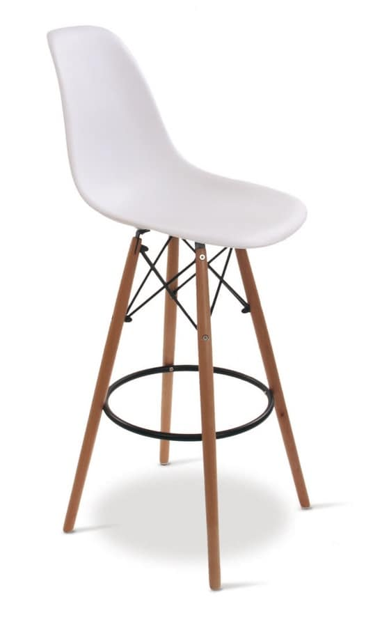 SG 506, Plastic stool with beech legs, for bars