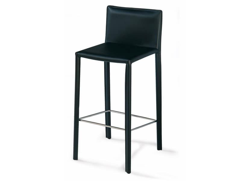 SG 620, Modern stool in leather, footrest in steel, for hotels