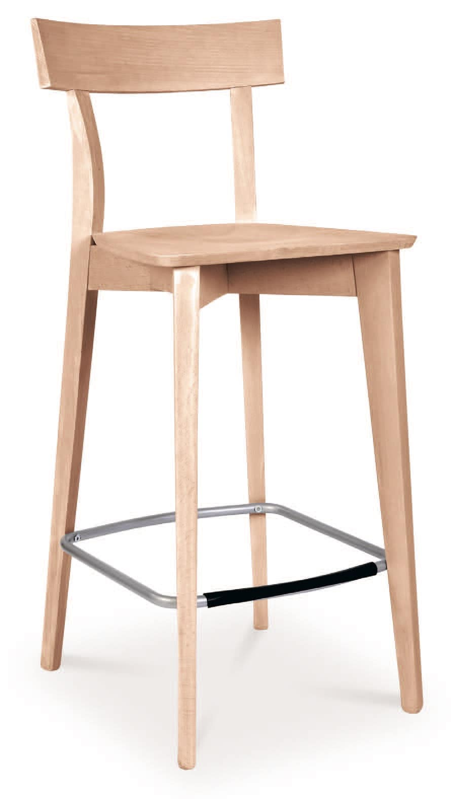 SG 646, Stool made entirely of wood, with steel footrest