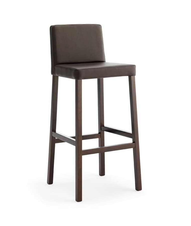 SG. RELAX, Wooden stool with padded seat and backrest