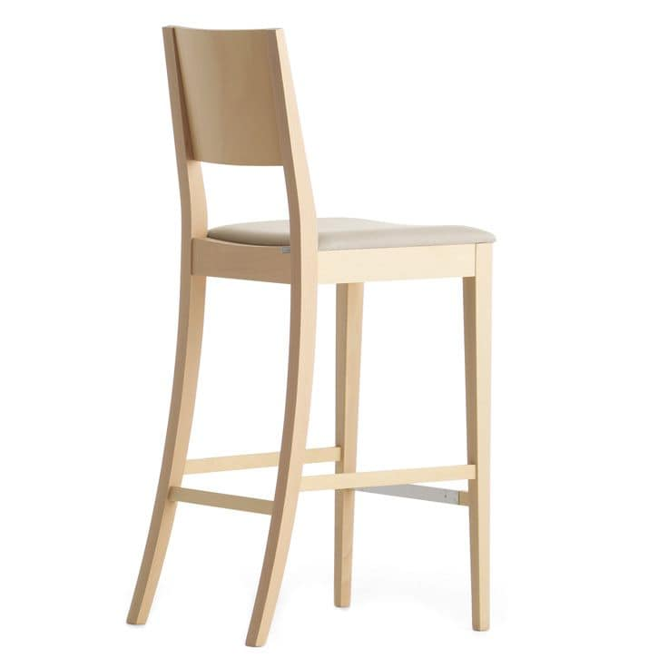 Sintesi 01581, Barstool in solid wood, upholstered seat, fabric covering, for contract and domestic environments