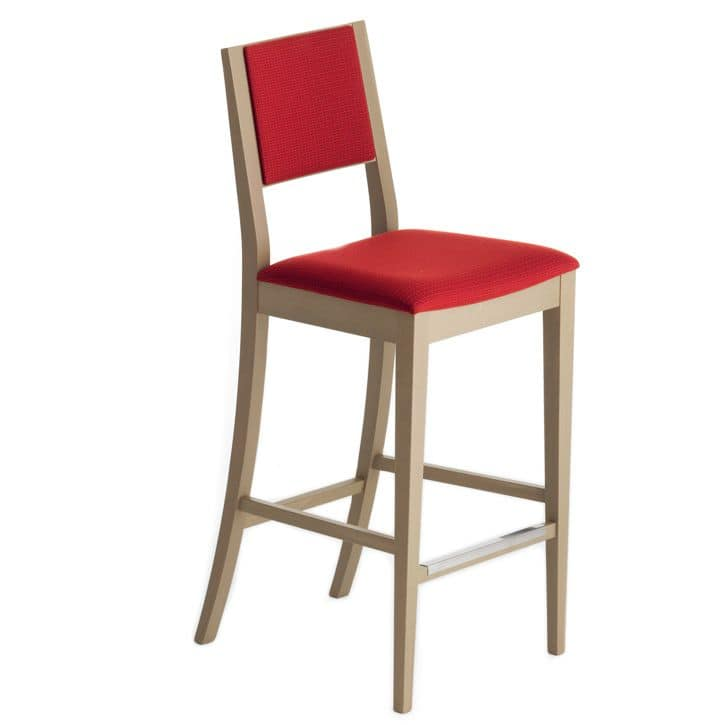 Sintesi 01582, Barstool in solid wood, upholstered seat and back, fabric covering, with stainless steel kickplate, for contract and domestic environments