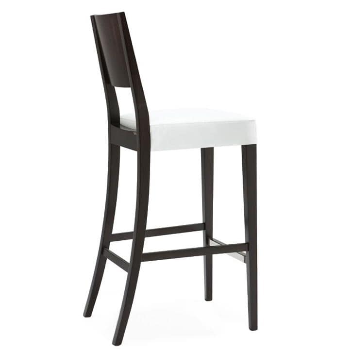 Sintesi 01583 - 01593, Barstool in solid wood, upholstered seat, fabric covering, with stainless steel kickplate, modern style