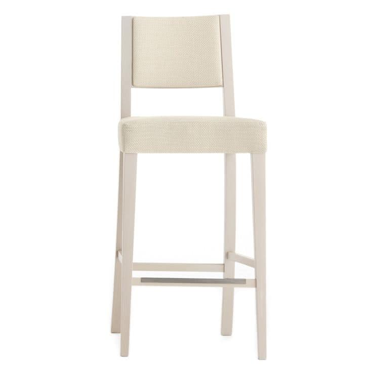 Sintesi 01584, Barstool in solid wood, upholstered seat and back, fabric covering, with stainless steel kickplate, for contract and domestic environments