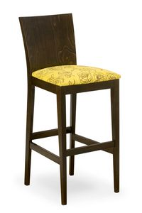 Sirio stool, Stool in wood with upholstered seat
