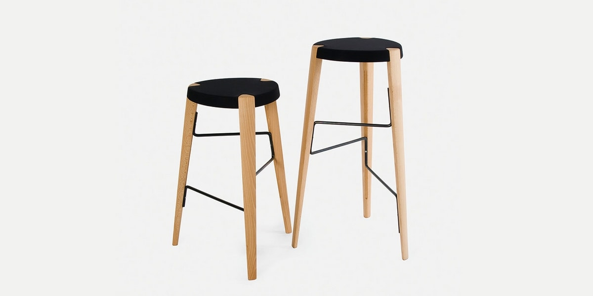 Sputnik, 3-legged wooden stool