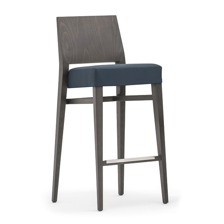 Timberly 01781 - 01791, Stackable barstool with solid wood frame, upholstered seat, fabric covering, steel footrest, for contract use