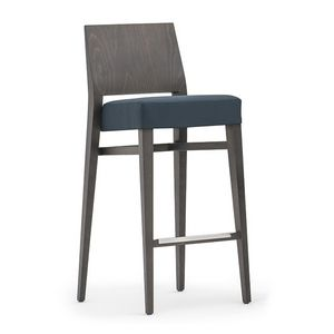 Timberly 01781, Stackable barstool with solid wood frame, upholstered seat, fabric covering, steel footrest, for contract use