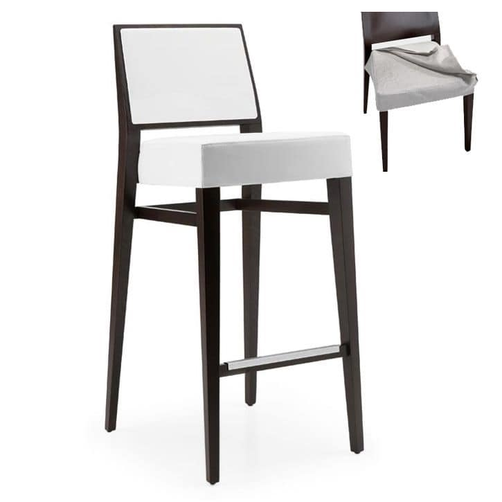 Timberly 01785 - 01795, Stackable barstool with solid wood, upholstered seat and back, fabric covering, steel footrest, for contract use
