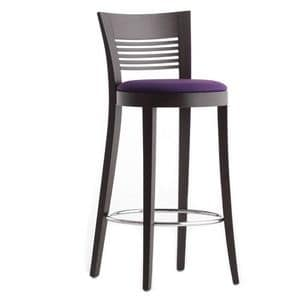Vienna 01382 - 01392, Stool in solid wood, upholstered seat, fabric covering, chrome footrest, for contract use