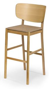 Viky straw stool, Wooden stool with straw seat