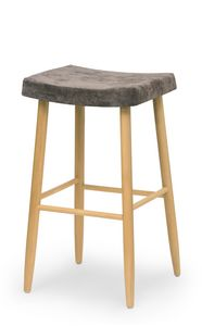 Web stool high, Wooden bartool without backrest