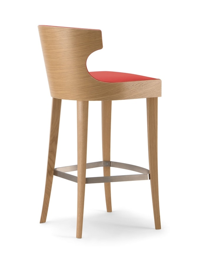XIE BAR STOOL 053 SG, Stool in wood, with enveloping backrest