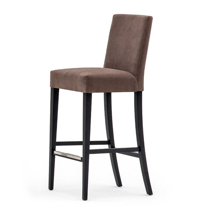 Zenith 01681, Barstool in solid wood, upholstered seat and back, fabric covering, steel footrest, for contract use