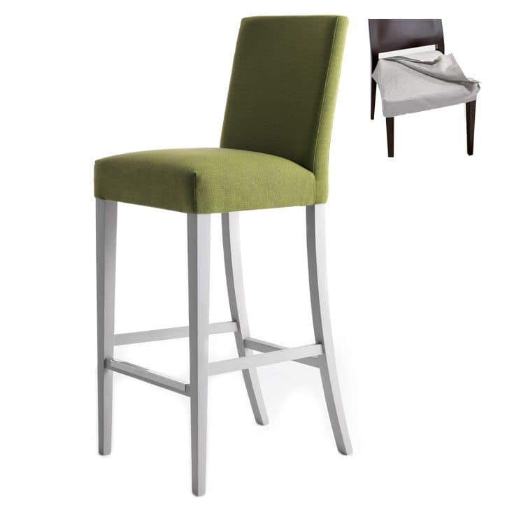 Zenith 01686 - 01696, Barstool in solid wood, upholstered seat and back, removable fabric covering, footrest in steel, for contract use
