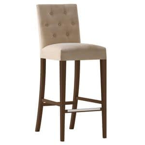 Zenith 01688 - 01698, Barstool in solid wood, upholstered seat and back, fabric covering, capitonn� back, footrest in steel, for contract use
