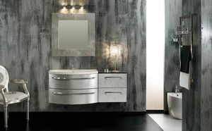 Glamour Argento AM44, Elegant bathroom cabinet, silver finish