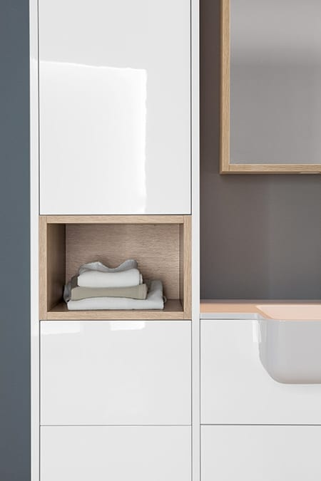 Kami comp.13, Modular bathroom cabinet with storage compartment
