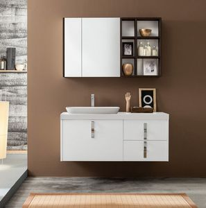 Kami comp.17, Bathroom cabinet with storage mirror