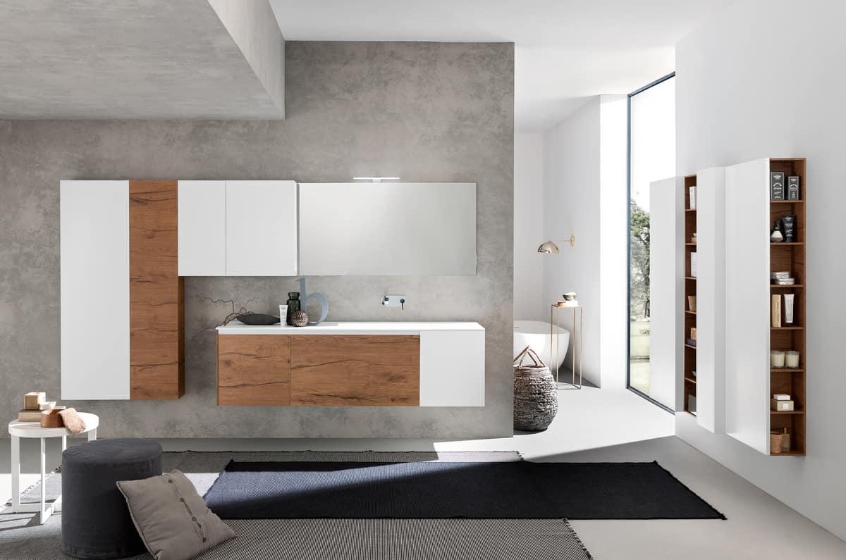 Bathroom furniture with capacious wall columns | IDFdesign
