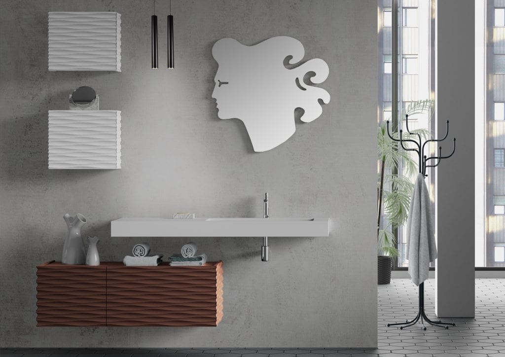 Plane 3D 08, Bathroom furniture with hanging cabinets and mirror