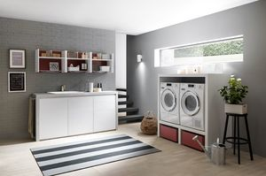 Lime Wash comp.07, Laundry furniture, with storage elements