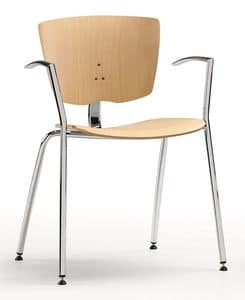 VEKTA 101, Stackable chair in chromed metal and beech plywood