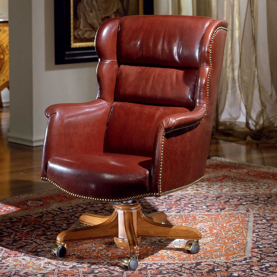 CARTER, Comfortable leather armchair for office