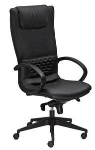 Diamond tall, Office armchair with high bacrkrest, leather upholstery