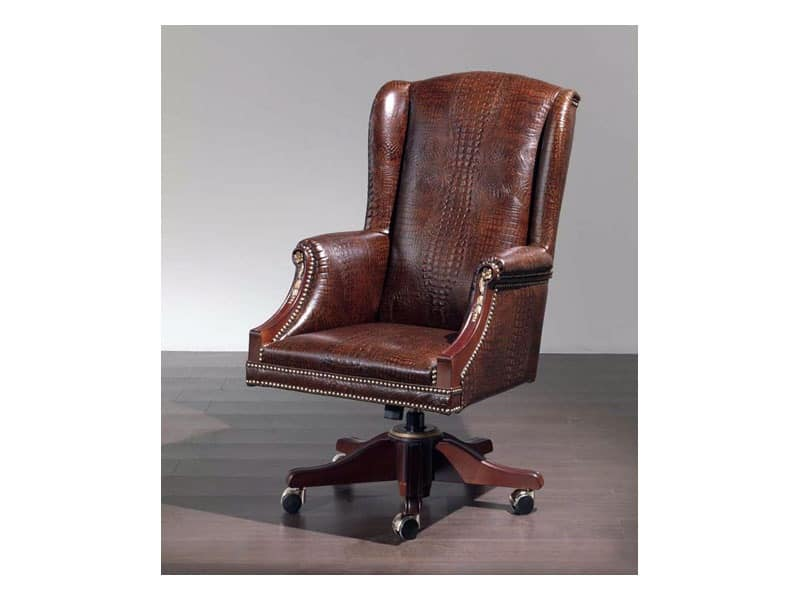 Fiore smooth, Comfortable chair upholstered in leather for office