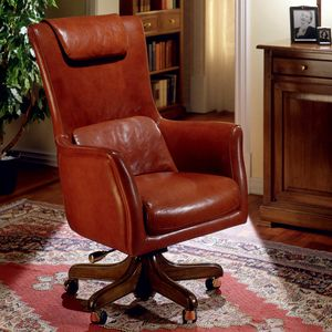 OBAMA, Office armchair in leather, with headrest