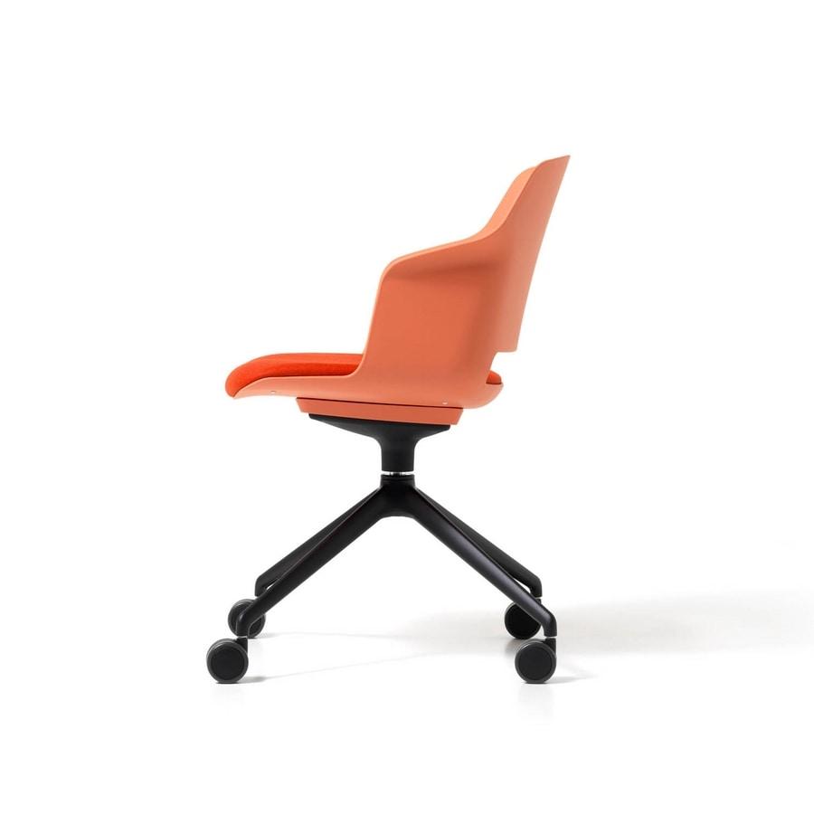 Clop wheels, Polypropylene chair on wheels