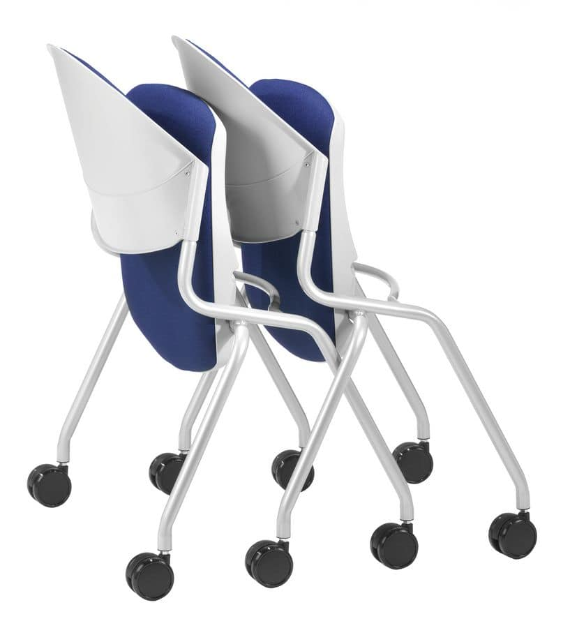NESTING DELFI 088 R S, Chair with folding upholstered seat, legs with wheels