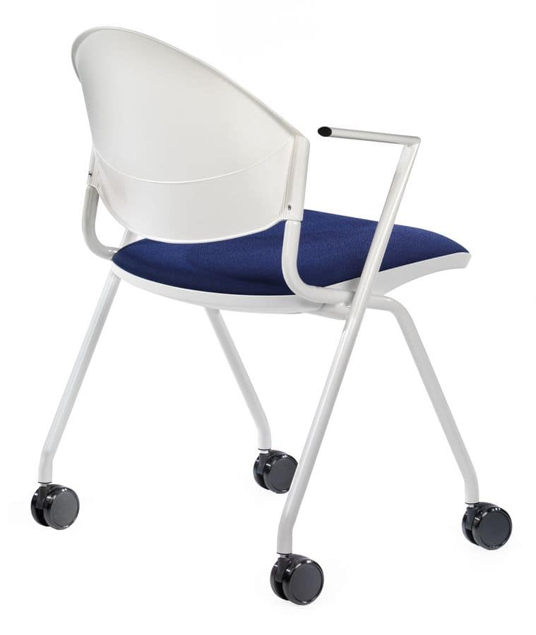 NESTING DELFI 089 R, Upholstered chair with wheels for conference rooms and offices