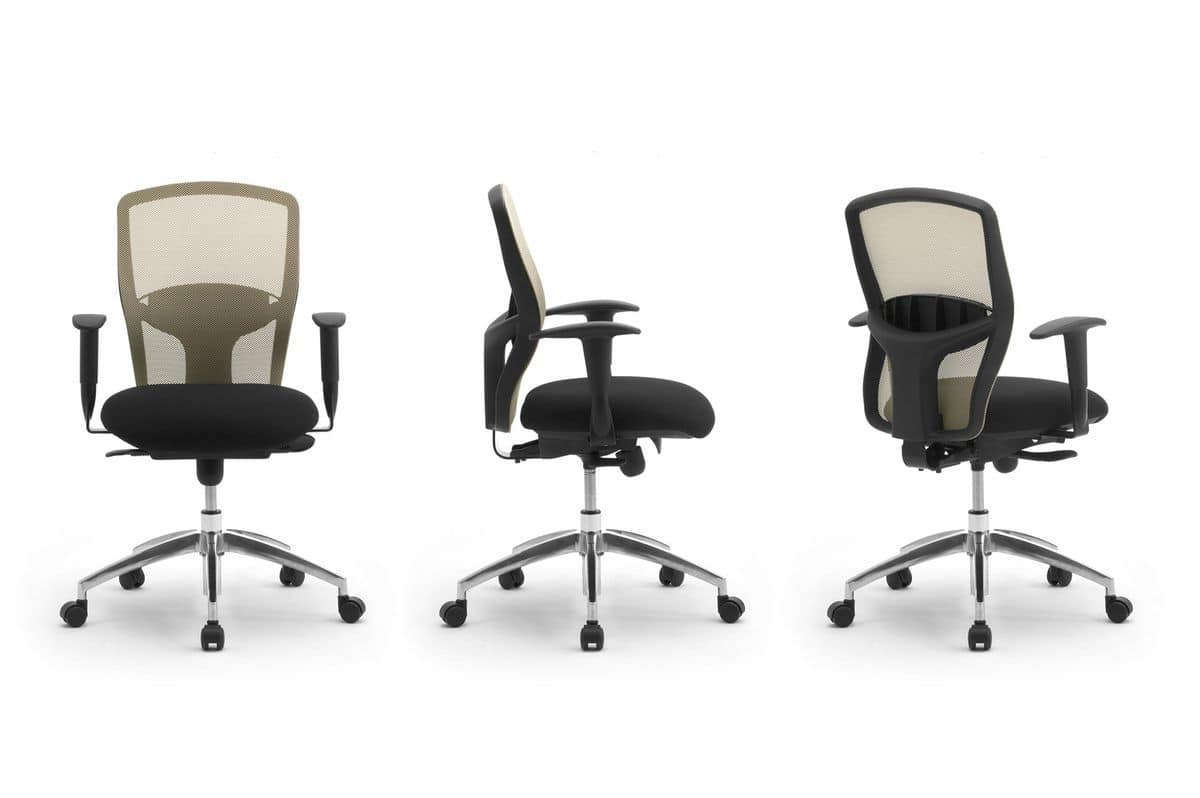 Gummy RE 099051R, Office chair on wheels, with backrest in mesh