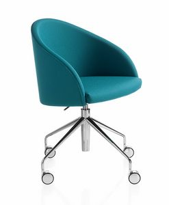Kameo swivel, Armchair on castors, with an essential design