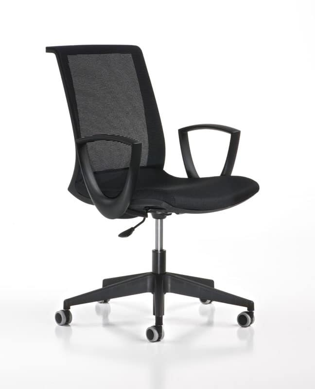 Key black, Adjustable task chair, with wheels, modern office