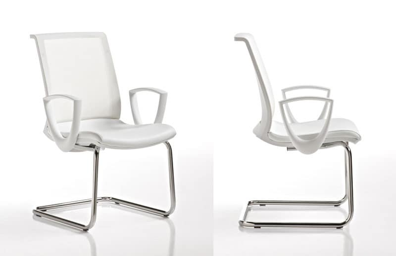 Key white, Swivel chair with mesh back, for Call center
