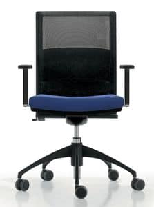 LA MESH, Task chair for office with wheels, mesh backrest