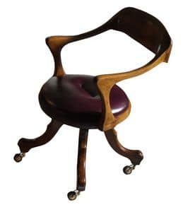 Le Havre VS.0226.PE, Chair with wheels walnut, covered in leather, for office