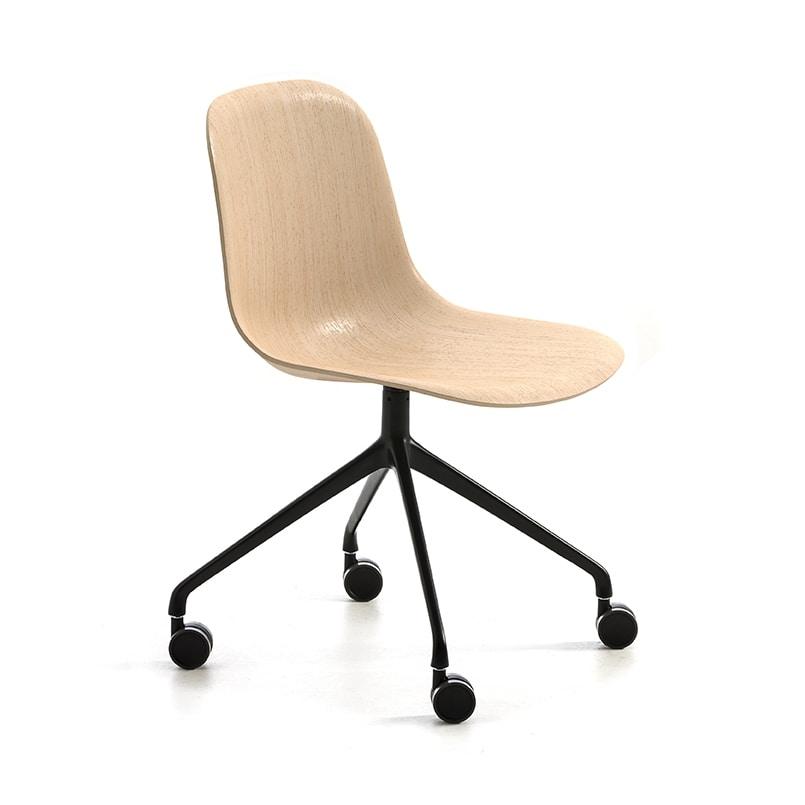 Máni Wood HO 4, Chair on castors, with 3D veneer shell