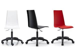 Mannequin with wheels, Swivel and adjustable chair for office, polypropylene shell